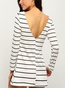 Whites Tees Striped Open Back Shift Dress