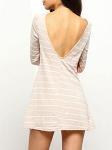 Khaki Striped Open Back Shift Dress