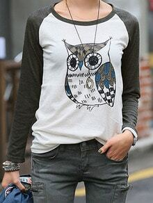 Grey Long Sleeve Owl Print T-Shirt