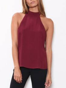 Red Halter Backless Tank Top