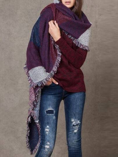 Color-block Geometric Print Frayed Scarf