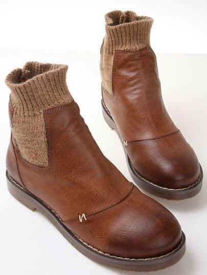 Brown Round Toe Contrast Sweater Boots