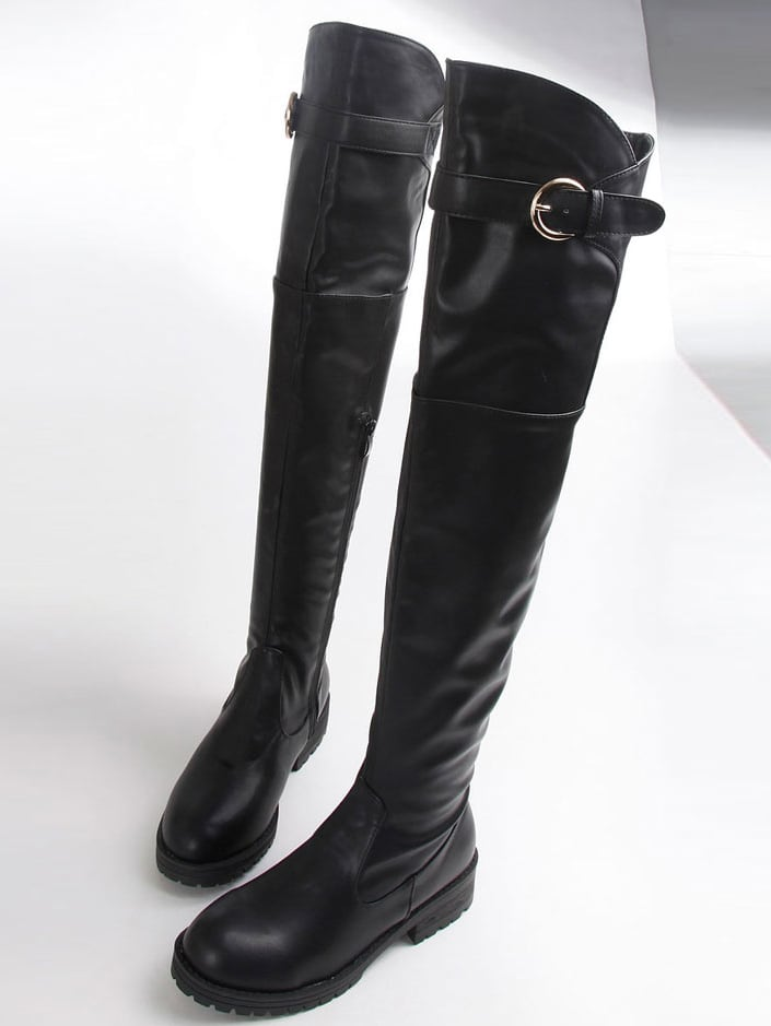 Black Buckle Strap Over The Knee Boots