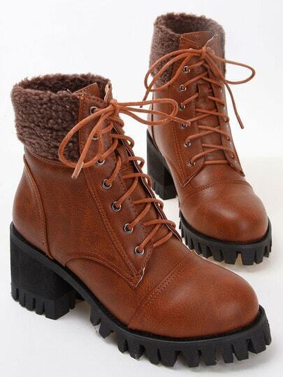 Brown Vintage Lace Up Chunky Boots