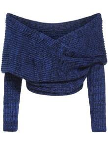Blue Boat Neck Cross Front Crop Sweater