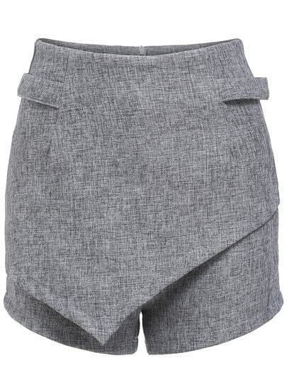 Grey Casual Slim Skirt Shorts