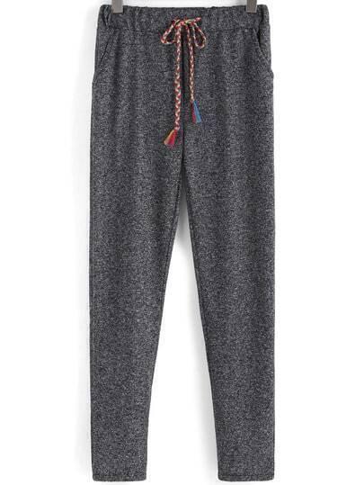 Grey Drawstring Waist Pockets Pant