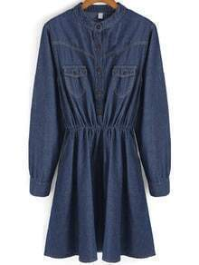 Blue Cowgirls Stand Collar Buttons Denim Dress