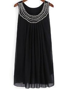 Black Vest Sleeveless Bead Panelled Rhinestone Chiffon Tank Dress