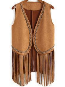 Brown Bead Tassel Vest