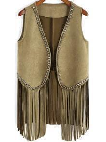 Army Green Bead Tassel Vest
