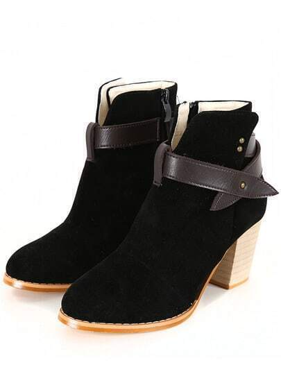 Black Chunky High Heel Strap Boots