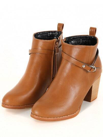 Camel Chunky Heel Buckle Strap Boots