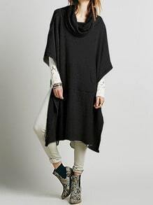 Black Draped Neck Loose Cape Sweater