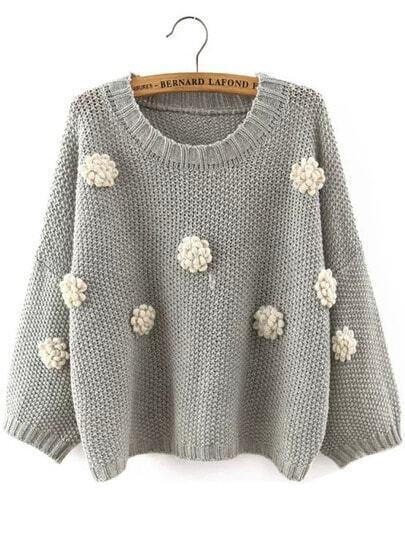 Grey Round Neck Applique Crop Knitwear