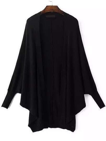 Black Batwing Long Sleeve Knit Cape Cardigan