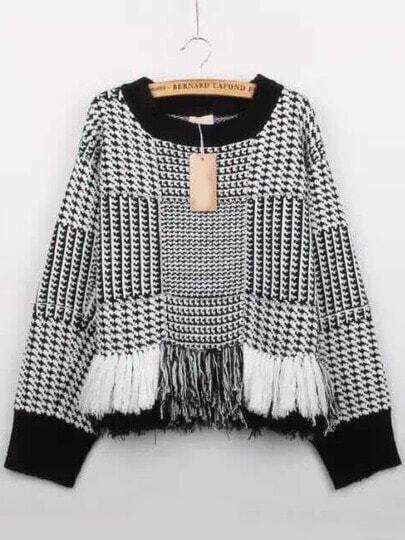 Black White Round Neck Houndstooth Tassel Sweater
