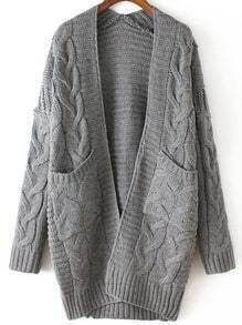 Grey Long Sleeve Cable Knit Pockets Cardigan
