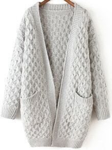 Light Grey Long Sleeve Chunky Pockets Cardigan