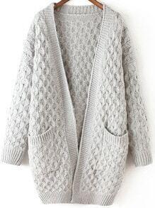 Light Grey Long Sleeve Chunky Pockets Cardigan