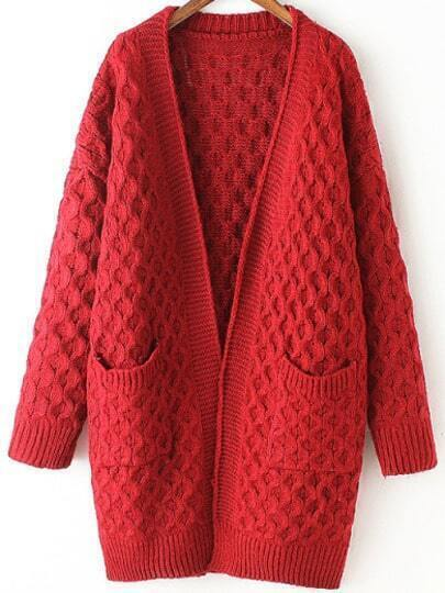 Red Long Sleeve Chunky Pockets Cardigan