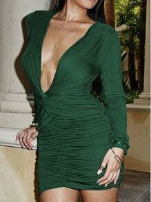 Green Rribbed Deep V Neck Wraparound Rouched Bodycon Dress