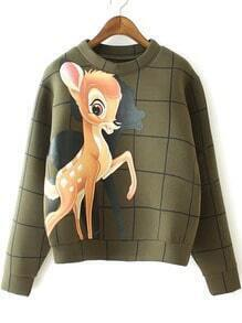Green Round Neck Deer Print Crop Sweatshirt