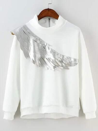 White High Neck Wing Print Loose Sweatshirt