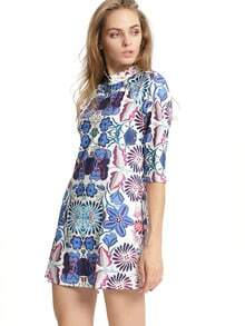 Multicolor Half Sleeve Floral Dress