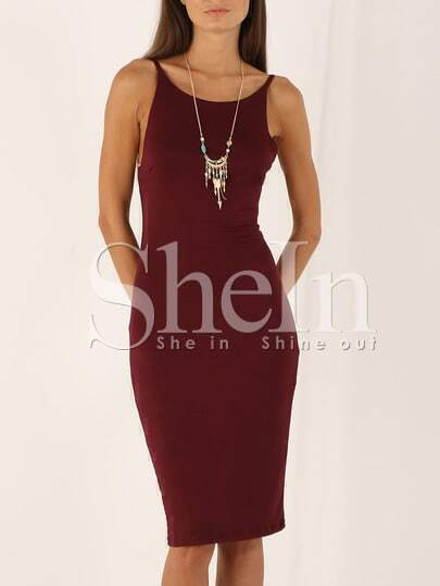 Wine Red Hugging Spaghetti Strap Designers Slim Dress
