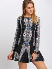 Multicolor Baggy Long Sleeve Designs Vintage Retro Print Dress