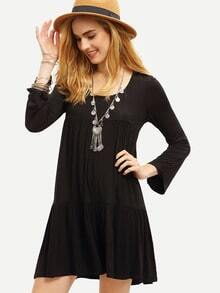 Black Lbd Ribbed Baggy Long Sleeve Loose Dress