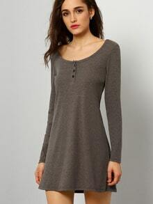 Grey Long Sleeve Designers Casual Dress