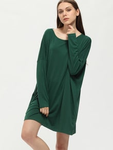 Dark Green Tees House Long Sleeve Designers Casual Dress