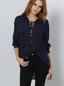 Navy Long Sleeve Style Lace Up Blouse