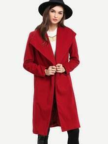 Wine Red Long Sleeve Pockets Coat