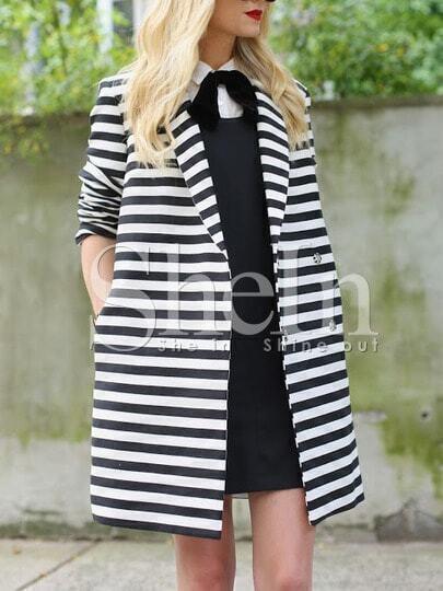 White Black Long Sleeve Lapel Striped Coat