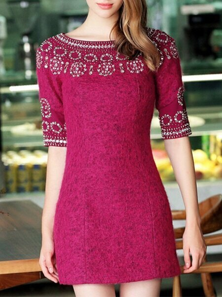 Win Red Round Neck Half Sleeve Beading Dress