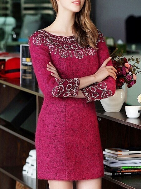 Win Red Round Neck Long Sleeve Beading Dress
