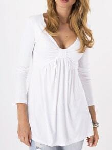 White Deep Plunge Neck Bow T-Shirt