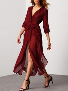 Red Oxblood Surplice Deep V Neck Self-Tie Elegantly Pockets Chiffon Dress Slutty Longsleeve Kaftan