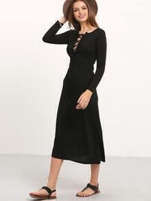 Black Long Sleeve Lacing Lace Up Maxi Dress