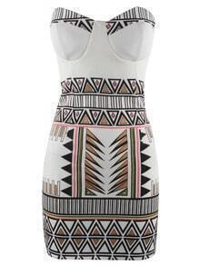 White Cocktails Strapless Geometric Print Bodycon Dress