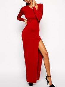 Red Oblique V Neck High-Slit Dress