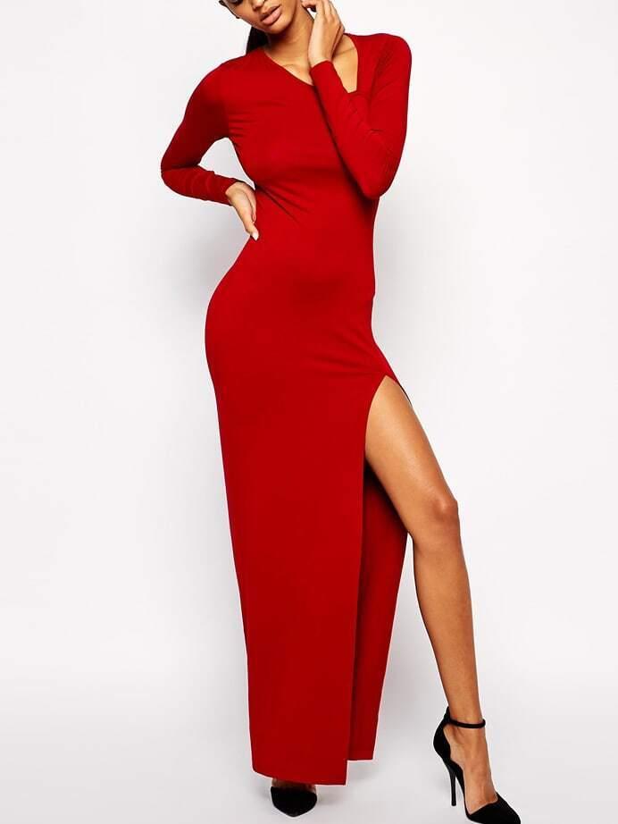Red Oblique V Neck High-Slit Dress