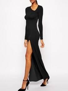 Black Oblique V Neck High-Slit Dress