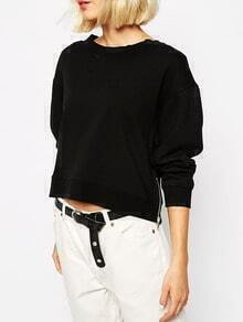 Black Zipper Crop Sweatshirt