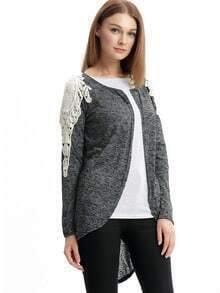 Grey Contrast Lace Coat