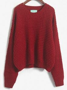 Wine Red Slit Chunky Knit Loose Sweater