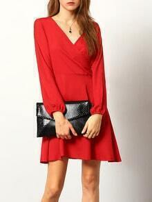 Red V Neck Split Sleeve Casual Dress